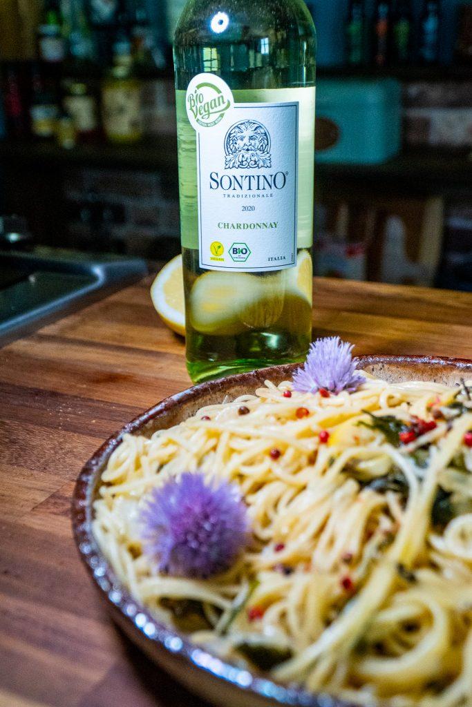 wein zu veganer pasta